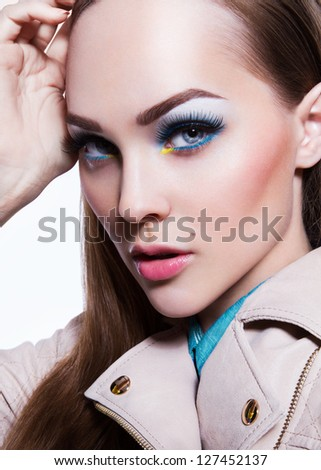 Beauty Model Woman Face. Perfect Skin. Professional Make-up. Makeup. Fashion Art - stock photo