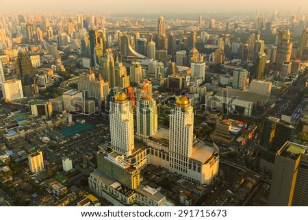 Beauty of Sunset Bangkok Thailand skyline aerial view  - stock photo