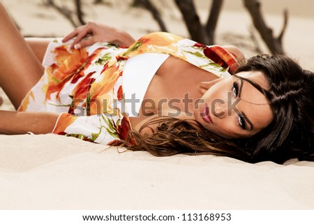 Beauty on the beach - stock photo