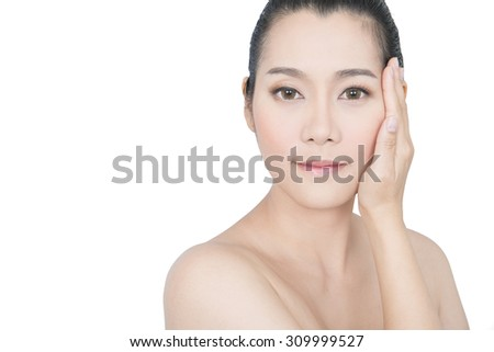 Beauty Portrait. Beautiful spa asian woman. Beautiful asian woman face and Perfect skin. keep pore details. - stock photo