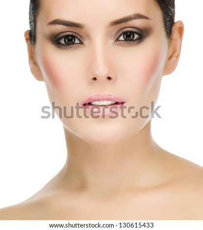 Beauty Portrait. Beautiful Spa Woman Face Closeup. Makeup. Perfect Fresh Skin. Pure Beauty Model. Youth and Skin Care Concept. Eyes - stock photo