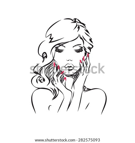 Beauty Portrait - Beautiful woman is posing elegantly with flawless manicure. This illustration is ideal for beauty / cosmetic related projects - stock photo