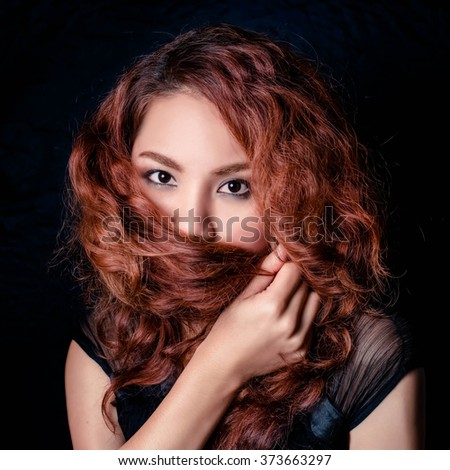 Beauty Portrait. Curly Hair - stock photo