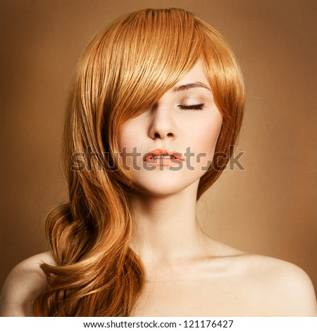 Beauty Portrait. Curly Long  Hair - stock photo