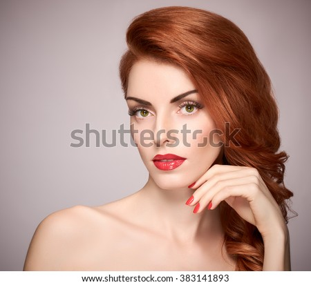 Beauty portrait nude woman, eyelashes, perfect skin, natural makeup, red lips, fashion. Gorgeous sensual attractive pretty redhead sexy model girl, shiny wavy hair. People face closeup, spa, copyspace - stock photo
