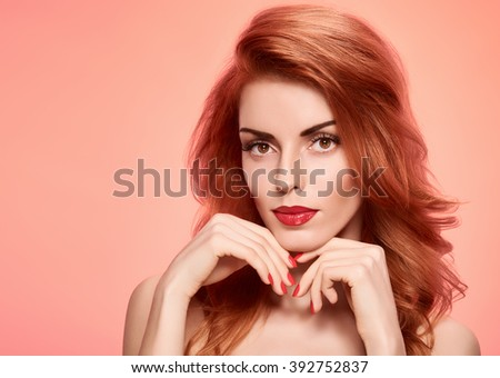 Beauty portrait nude woman, eyelashes, perfect skin, natural makeup, red lips, fashion. Gorgeous sensual attractive pretty redhead sexy model girl on pink, shiny wavy hair.People face, spa, copy space - stock photo