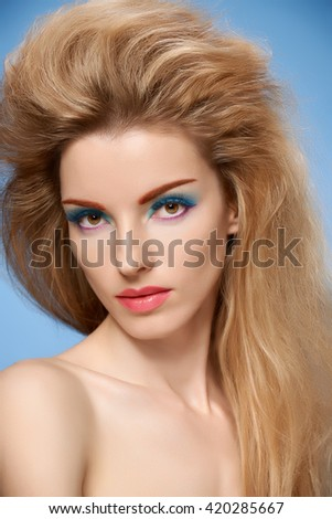 Beauty portrait nude woman, long eyelashes, fashion bright makeup, perfect skin. Sensual attractive blonde sexy model girl, volume hairstyle. Unusual creative lady. People face closeup - stock photo