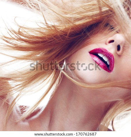 Beauty portrait of a beautiful blonde girl with closed eyes, closeup - stock photo