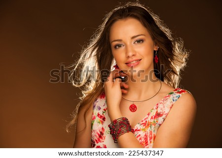 Beauty portrait of a beautiful young attractive woman - stock photo