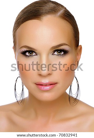 Beauty portrait of a Russian model with white background in study of Barcelona Spain. - stock photo