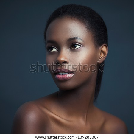 Beauty portrait of a sensual African woman. - stock photo
