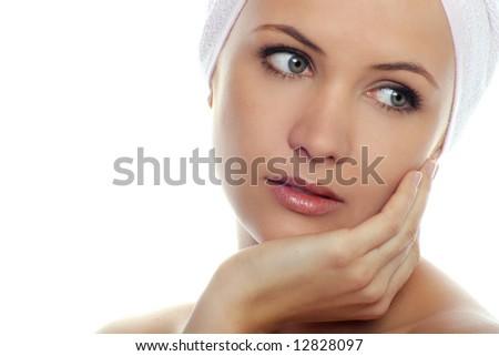 beauty Portrait of beautiful woman wearing white towel on her head - stock photo