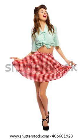 Beauty portrait of pinup girl isolated - stock photo