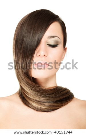 beauty portrait of pretty woman - stock photo