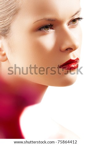Beauty portrait of pretty woman model with fashion bright red lips make-up, clean healthy skin. Chic retro style. Realy light effect: colorful light spots - stock photo