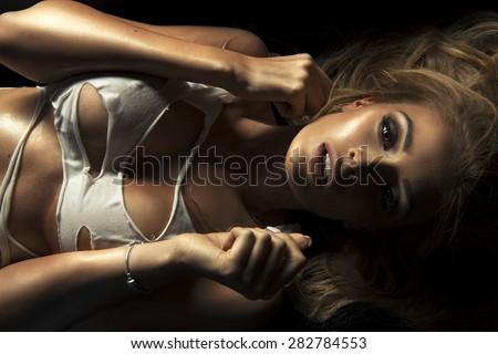 Beauty portrait of sensual blonde woman.  - stock photo