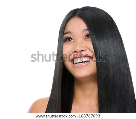 Beauty portrait of smiling asian girl healthy long straight hair isolated on white - stock photo