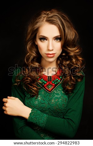 Beauty Portrait of Woman Fashion Model. Girl with Beautiful Curly Hairstyle and Makeup - stock photo