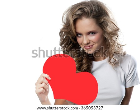 beauty portrait of young attractive caucasian smiling woman isolated on white studio shot with red heart valentine's day love - stock photo