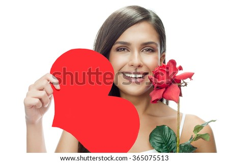 beauty portrait of young attractive caucasian smiling woman isolated on white studio shot with red heart valentine's day love rose flower - stock photo