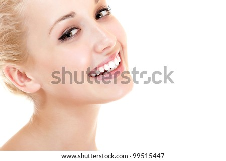 Beauty portrait of young beautiful woman happy smiling and looking at camera. Isolated on white background - stock photo