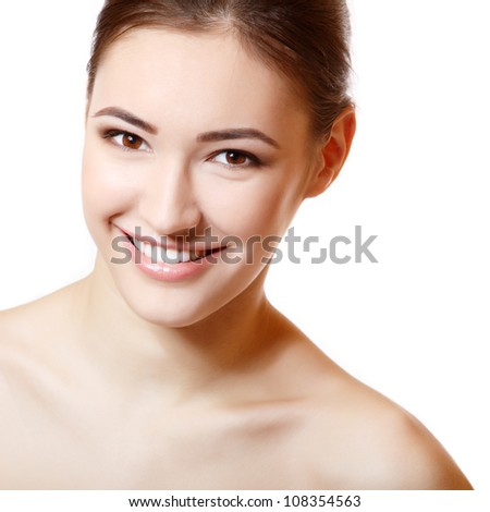 Beauty portrait of young fresh smiling girl. Isolated on white background - stock photo