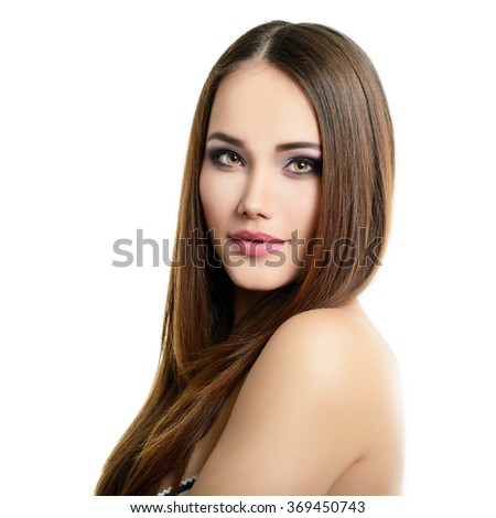 Beauty portrait of young woman with beautiful healthy face, studio shot of attractive girl over white background - stock photo