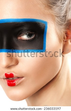beauty portrait of young woman with creative make up. Glamour style studio photoshoot - stock photo