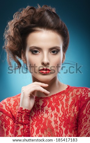 Beauty Portrait. Perfect Fresh Skin. Pure Beauty Model. Youth and Skin Care Concept. - stock photo