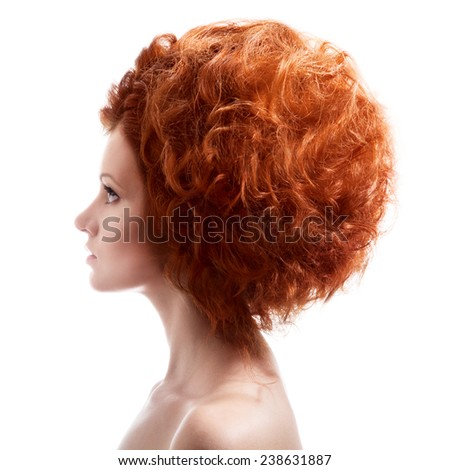 Beauty Portrait. Updo Hairstyle On White Background - stock photo