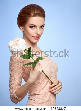 Beauty portrait woman in lace dress with flower, green eyes, perfect skin, natural makeup, fashion. Gorgeous sensual attractive pretty redhead sexy model girl, shiny hair. People, spa, copy space - stock photo