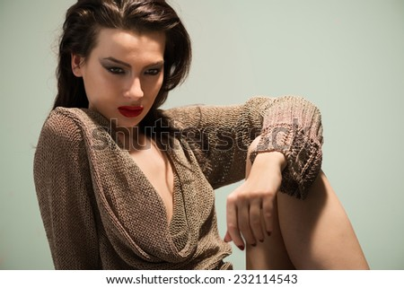 Beauty portrait young woman with sexy lips - stock photo