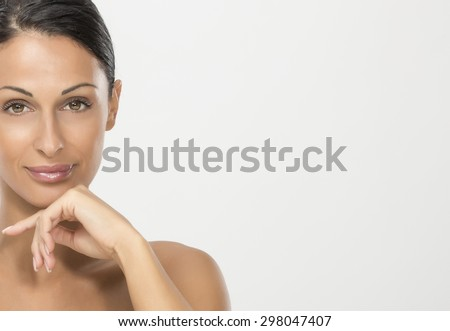 Beauty portraits of nice woman with black hair - stock photo