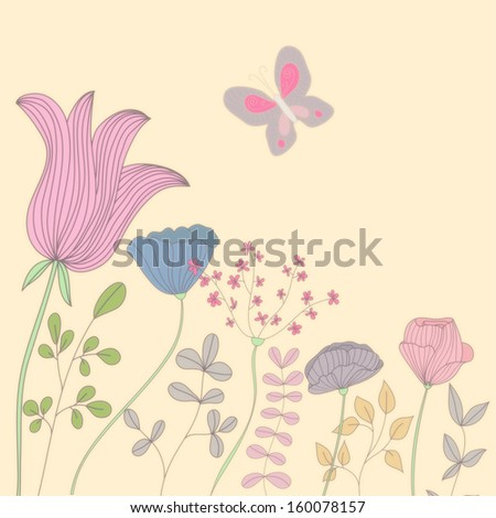Beauty postcard in light tones. Summer illustration with flowers and butterfly. Ideal for celebration card or poster - stock photo