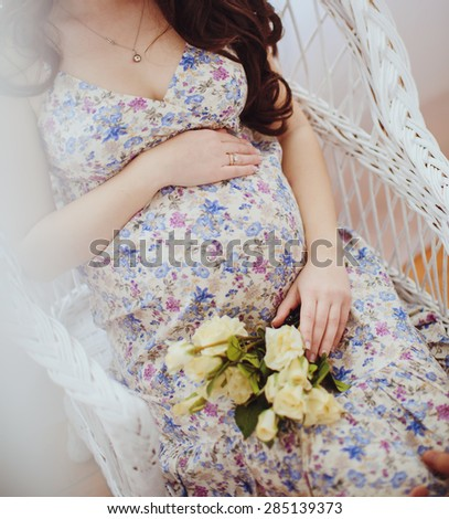 Beauty Pregnant Woman . Pregnant Belly. Beautiful Pregnant Woman Expecting Baby. Maternity concept. Baby Shower - stock photo