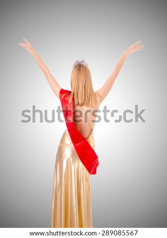 Beauty queen at contest against the gradient  - stock photo