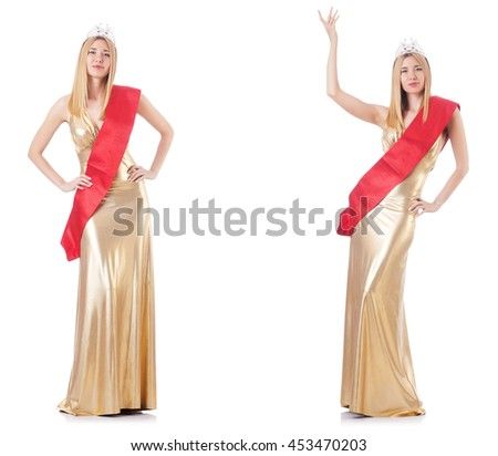 Beauty queen at contest isolated on white - stock photo