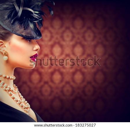 Beauty Retro Woman Portrait. Vintage Style Girl Wearing Old fashioned Hat. Retro Hairstyle and Make-up. Romantic lady profile portrait - stock photo