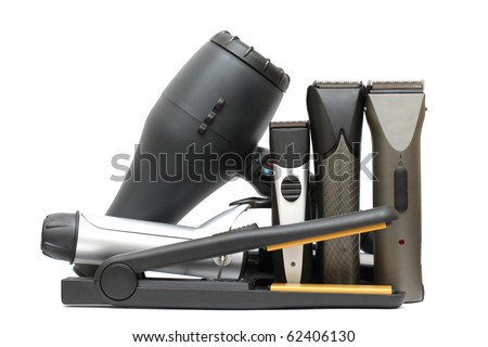 Beauty salon background - hairdressers tools isolated. Hair styling set - stock photo