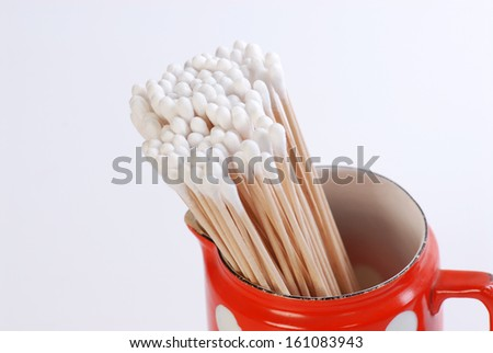 beauty salon cotton stick isolated on white - stock photo
