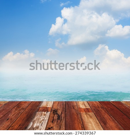 Beauty seascape against blue sky and clouds. View from pier in summer. - stock photo