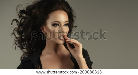 Beauty sexy brunette woman - stock photo
