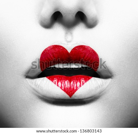 Beauty Sexy Lips with Heart Shape paint. Love Concept. Kiss - stock photo