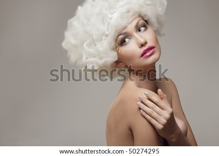 Beauty  sexy woman cloudy  white hair .Fashion Model. - stock photo