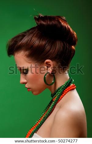 Beauty sexy woman Salad make up,Fashion Model. - stock photo