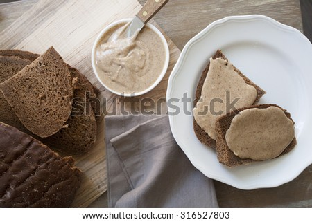 beauty shot of almond butter spread - stock photo