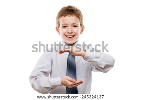 Beauty smiling child boy gesturing hand holding large size invisible sphere or globe white isolated - stock photo
