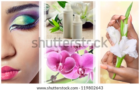 Beauty, spa and cosmetics collage with various flowers, closeup shots of face and hands - stock photo