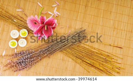 beauty spa and wellness background with flowers decoraiton - stock photo