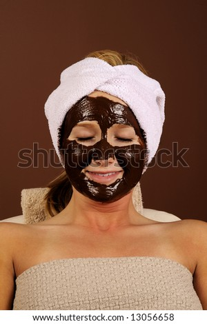 Beauty Spa Facial Mask Organic Hydrating Chocolate Mousse - stock photo